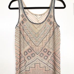 Willow & Clay | Beaded Boho Tank Top Size XS